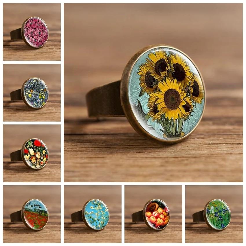 ring Van Gogh jewelry handmade Ring jewelry blue jewelry painting jewelry van gogh ring blue ring cabochon ring flower