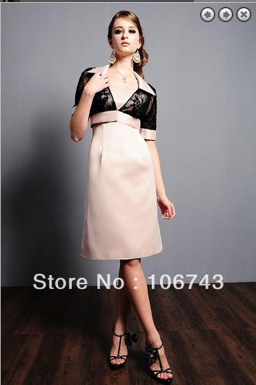 Free Shipping 2016 Brides Maid Dresses Vestidos Formales Weddings Plus Size Short Mother Of The Bride Dresses With Lace Jacket