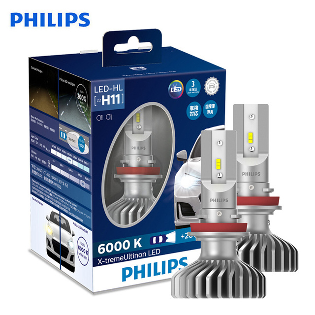 Philips X treme Ultinon LED H11 6000K Cool White +200% More Bright LED Car Headlight Genuine Refit Original Lamps 11362XUX2,2X