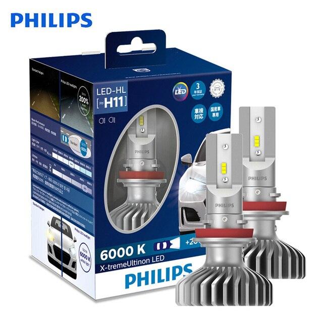فيليبس X treme Ultinon LED H11 6000K كول وايت + 200% أكثر مشرق LED سيارة العلوي حقيقية تجديد المصابيح الأصلية 11362XUX2 ، 2X