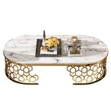 Minimalist modern styel marble stainless steel coffee table round U shape tea table leisure area furniture for living room