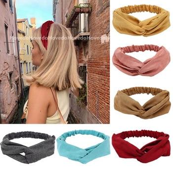Women Summer Suede Headband Vintage Cross Knot Turban Elastic Hair Bands Soft Solid Girls Hairband Headwear Hair Accessories 1