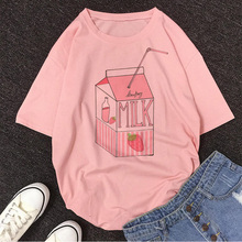 Jugo de leche Japanses estética Grunge Linda camiseta de dibujos animados mujeres Harajuku Kawaii Rosa verano Casual Tumblr traje moda camiseta