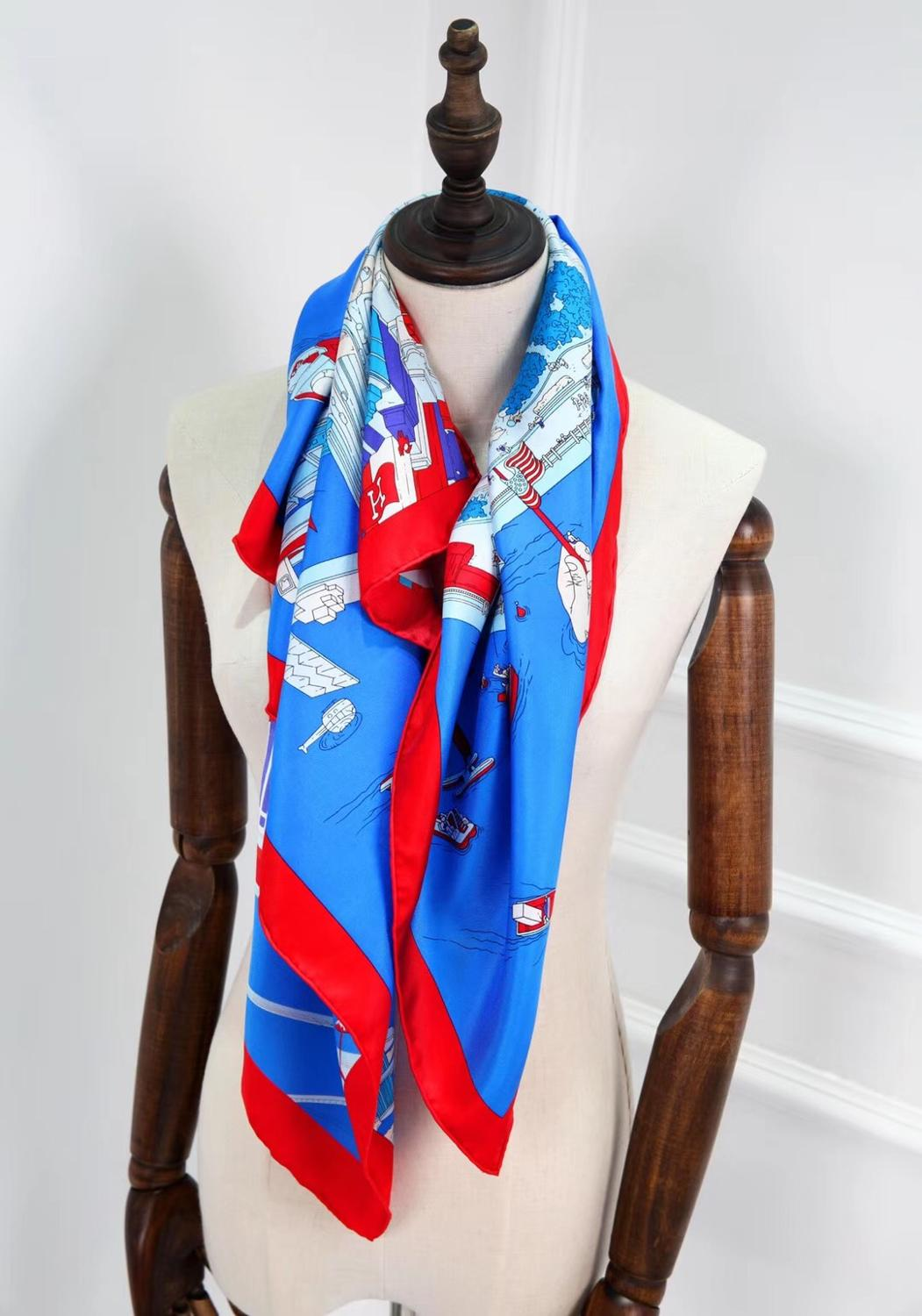 2020 New Arrival Fashion  Brand Classic Colorful 100% Silk Scarf 90*90 Cm Square Shawl Twill Wrap For Women Lady  Free Shipping