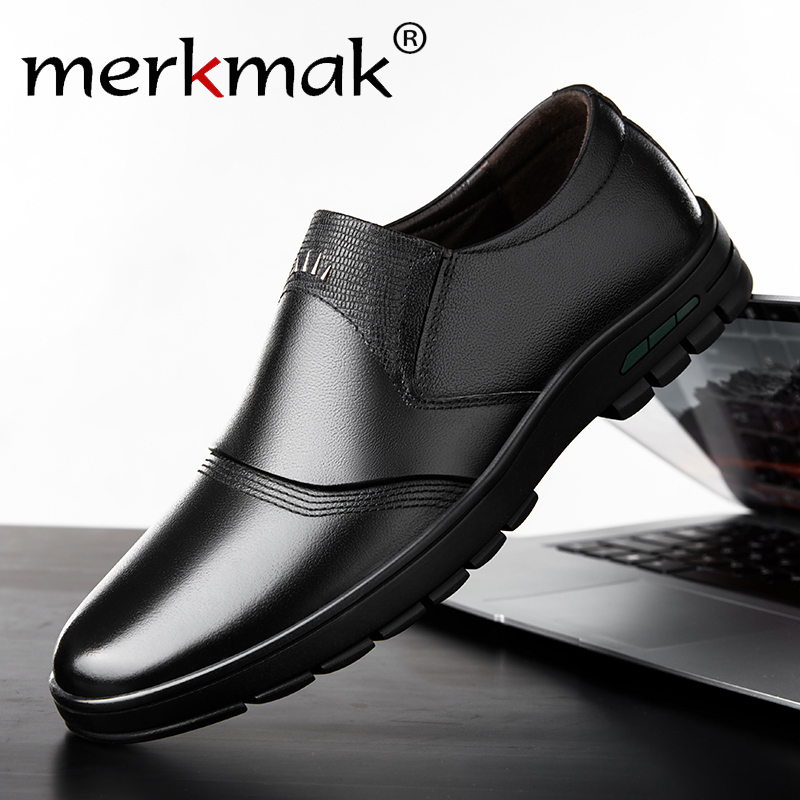 Merkmak Men's Shoes Comfortable Men Casual Shoes Genuine Leather Breathable Loafers Slip-on Footwear Walking Driving Shoes