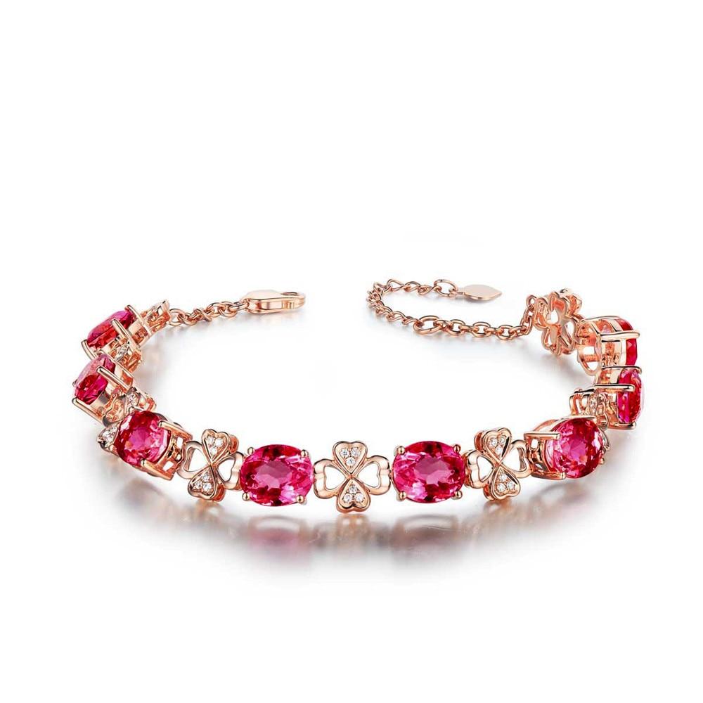 Ruby Gemstones Red Crystal Women Bracelets Diamonds 18k Rose Gold Color Luxury Fine Jewelry Clover Birthday Gifts Bijoux Bague