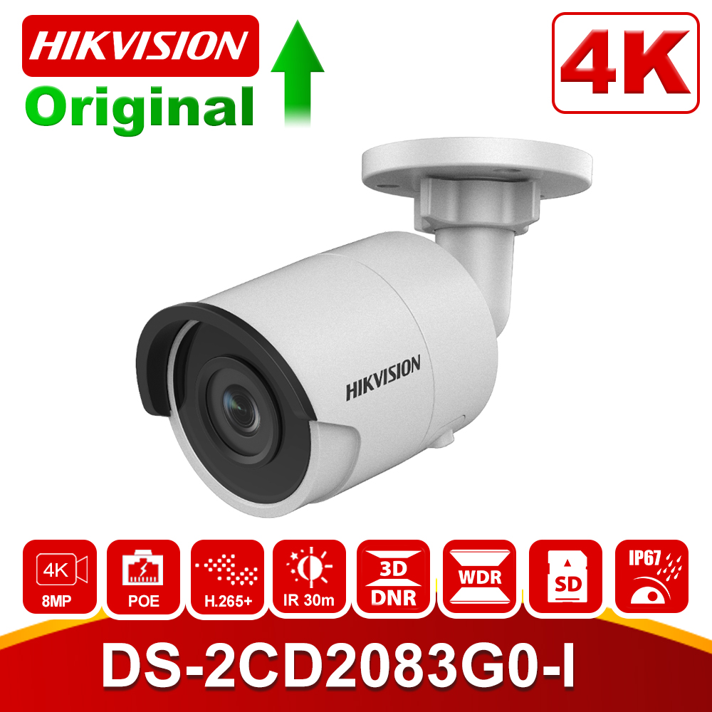 Hikvision Bullet 8MP IP Camera POE Outdoor DS-2CD2083G0-I Outdoor Security Camera H.265 With SD Card Slot & 30m Night Vision