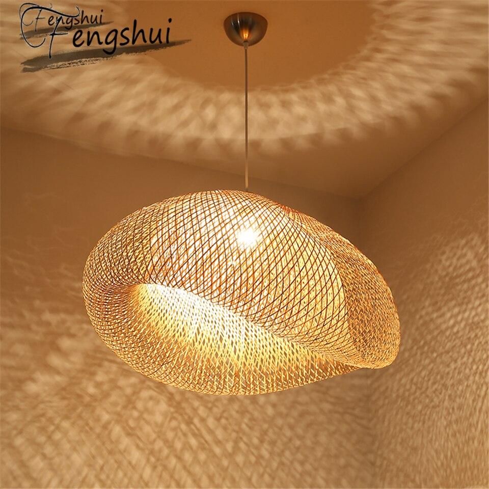 Art pendant light Modern Bamboo lamp lighting Restaurant Hotel Rattan pendant lamp for living room hanging lamp kitchen fixtures