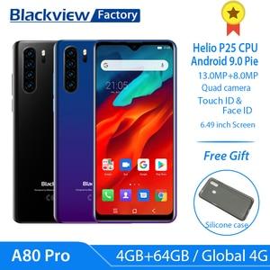 Image 1 - Blackview A80 Pro глобальная версия 4 аппарат не привязан к оператору сотовой связи Quad сзади Камера мобильный телефон 6,49 в виде капли воды, 4 Гб + 64 Гб Octa Core Android 9,0 мобильных телефонов