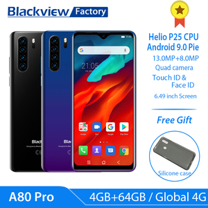 Blackview A80 Pro Global Version 4G LTE Quad Rear Camera Mobile Phone 6.49'' Waterdrop 4GB+64GB Octa Core Android 9.0 cellphones
