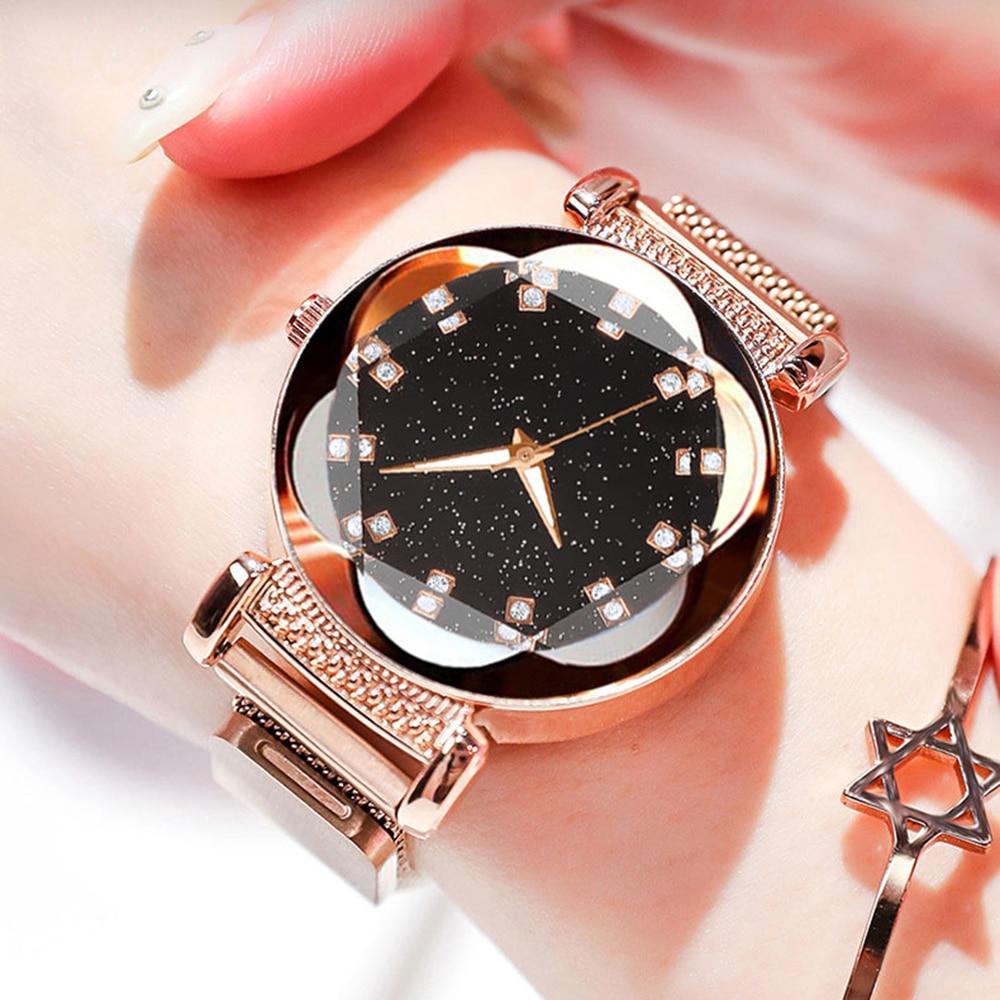 Dropshipping Hot Sale Women Magnet Buckle Starry Sky Diamond Watch Luxury Ladies Stainless Steel Quartz Wristwatches Gift Clock