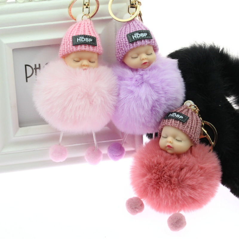 Baby Doll Key Ring Doll Keychain Cute Fluffy Fake Fur Fluffy Ball Car DecorationKawaii Confused Doll Hair Ball Keychain