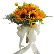 Yapay gelin düğün buket romantik el yapımı parlak ayçiçeği keten halat kolu saten kurdele kilise parti ev dekorasyon