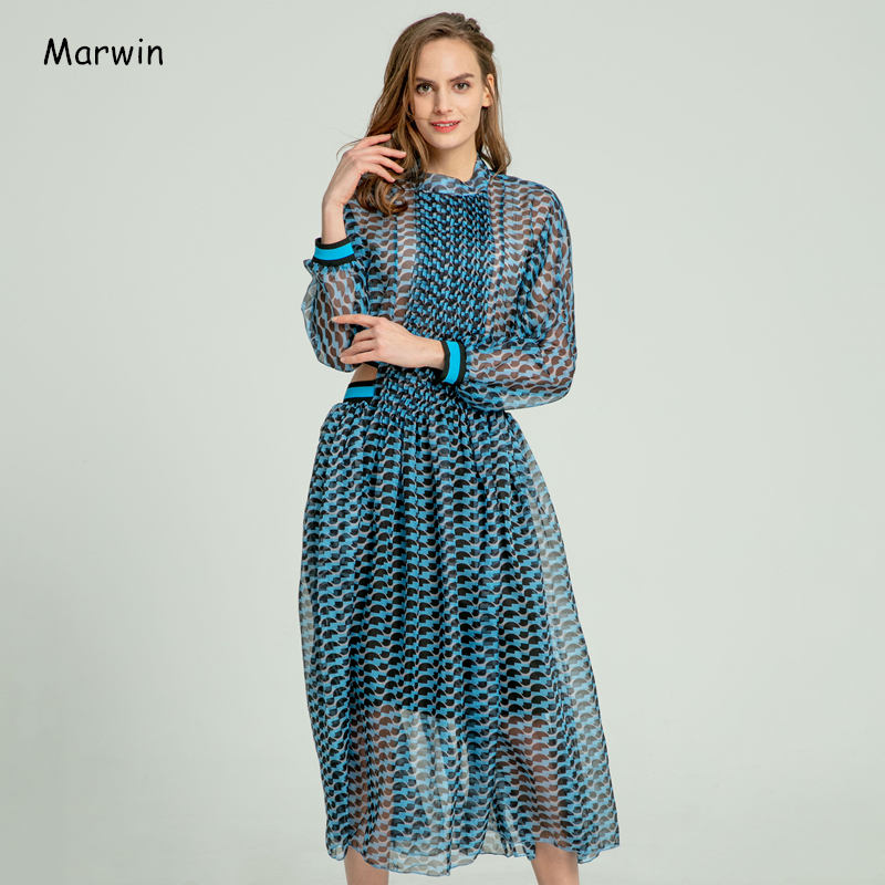 Marwin 2020 Spring Summer Beach Style Striped Empire A-Line Ankle-Length O-Neck Women Dresses High Street Holiday Female Dresses
