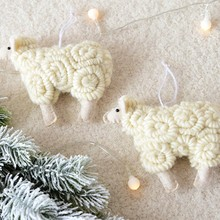 Handmade Wool Felt Little Sheep Christmas Tree Hanging Decoration Ornament For Home Festive Party Supplies