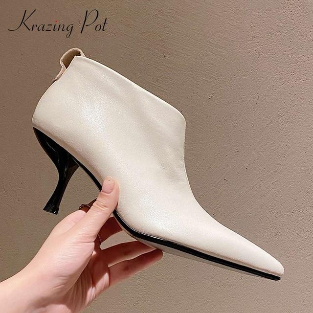 Krazing Pot en cuir véritable, bottines de grande taille, design européen à haute mode, fin et à talons hauts, bout pointu avec fermeture éclair, bottines de bureau pour dames L59