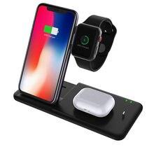 15w qi carregador sem fio suporte 4 em 1 estação doca de carregamento rápido dobrável para iphone 11 xr x 8 apple relógio airpods iwatch