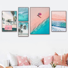 Pink Beach Sea Waves Palm Tree Car Quotes Wall Art Canvas Painting Nordic Posters And Prints Wall Pictures For Living Room Decor coconut palm tree beach wall art canvas painting nordic landscape posters and prints wall pictures for living room unframed