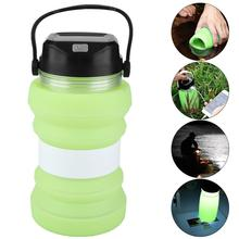 Drinkware Solar Rechargeable Kettle Outdoor Camping Tent Creative Luminous Cup Solar Charging Travel Collapsible Kettle soft silica gel portable outdoor fashion creative sports kettle solar charging camping lamp hiking luminous cup