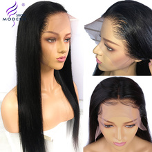 Brazilian Wig Human-Hair Lace-Front Pre-Plucked Straight Modern-Show Black Women Remy