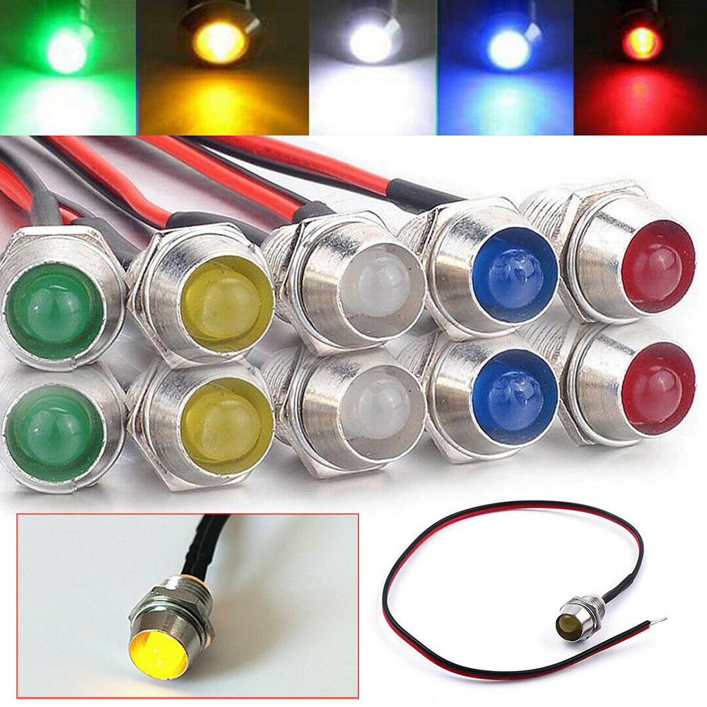 12V 8mm LED Dash Panel Warning Pilot Light Bulb Indicator Lamp Bulb Car Boat Van