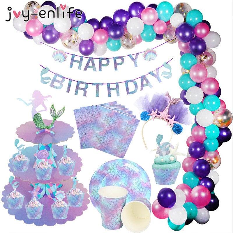 Вечерние бумажные подставки для торта с русалочкой, 3 уровня, для маленьких девочек, для первого дня рождения, вечерние украшение, подставка ...