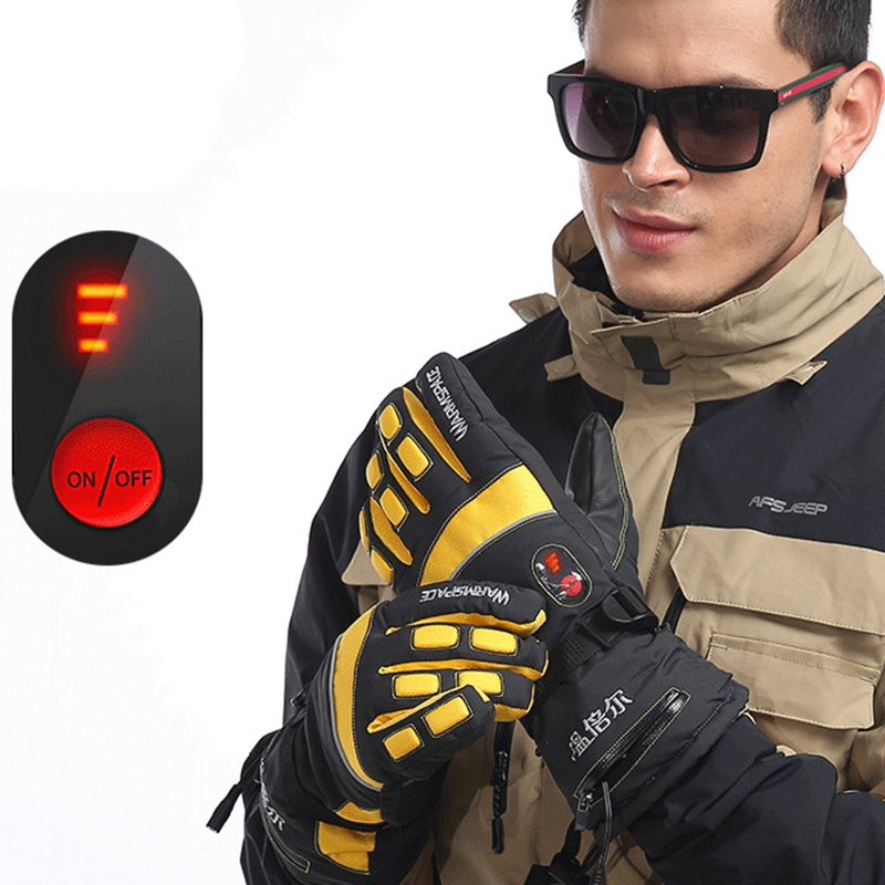 Warmspace Smart Electric Gloves 4000MA Ski Waterproof Lithium Battery Self-Heating Adjustable Temperature 5 Hand Heating Gloves