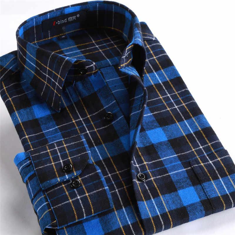 BOLUBAO marka jakości mężczyźni koszule na co dzień topy jesienno-zimowa nowa męska bawełniana w kratę koszula wygodna ciepła koszula z długim rękawem mężczyzna