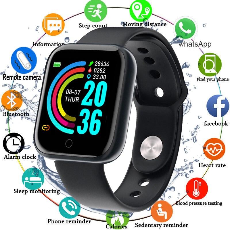 Hembeer Y68 Smart Watch Men Women For Android Apple Phone Waterproof Heart Rate Tracker Blood Pressure Oxygen Sport Smartwatch