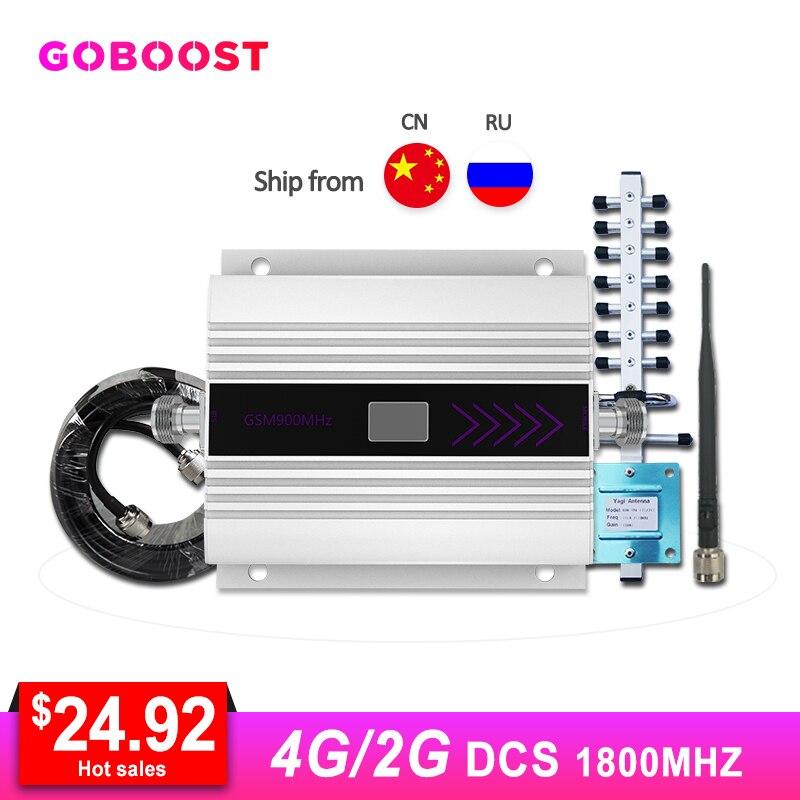 4G DCS LTE 1800MHZ amplificateur de Signal cellulaire GSM amplificateur de Signal de téléphone portable répéteur affichage LCD Yagi + fouet antenne Kit Coaxial #