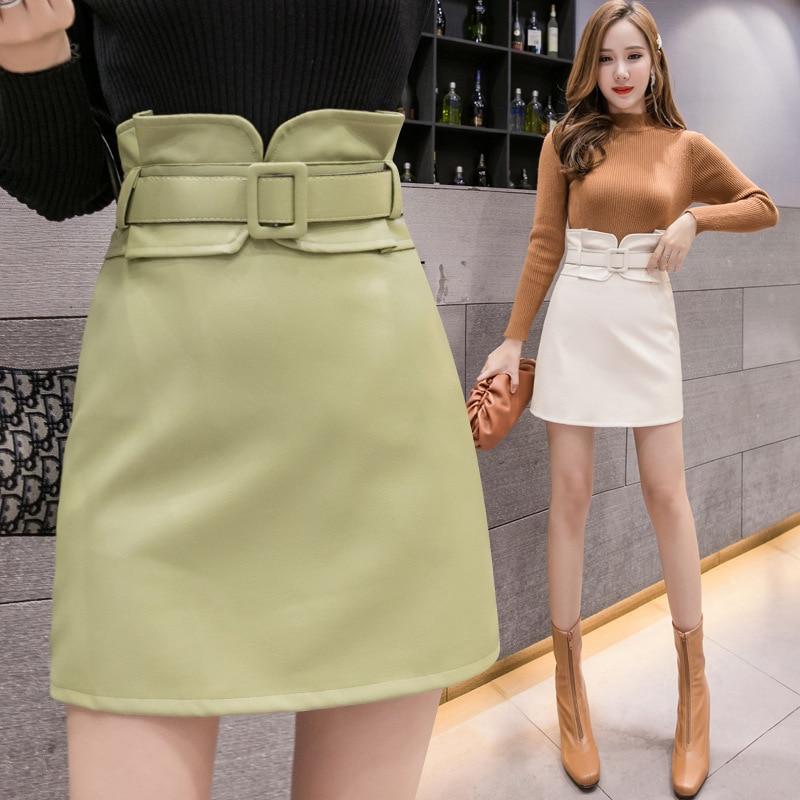 Photo Shoot 2019 Autumn And Winter New Style Flower Waist Pu Washing Leather Skirt Women's Anti-Exposure Bandage Cloth Skirt