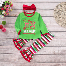 New Christmas Girls Clothes Winter Baby Girl Ruffle Raglan Cotton Outfits Xmas Children Clothing Set 3 PCS Sets D1362 цены онлайн