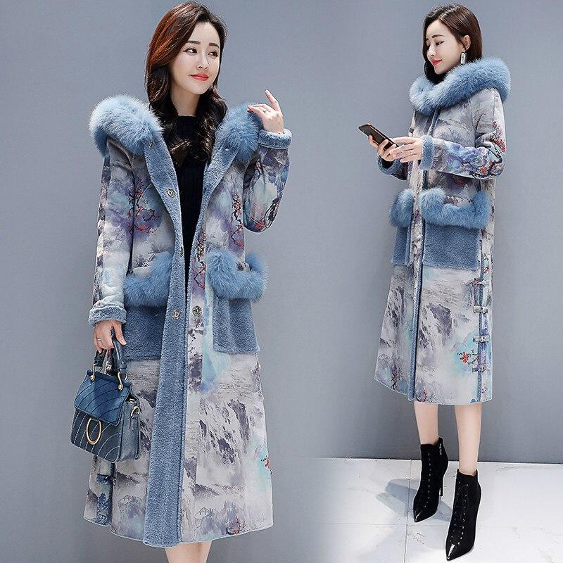 Winter Female Fur Jacket+large Fur Hooded Fashion Faux Fur Coat Women 2020 Korean Thick Warm Print Long Coat Hiver LW1203