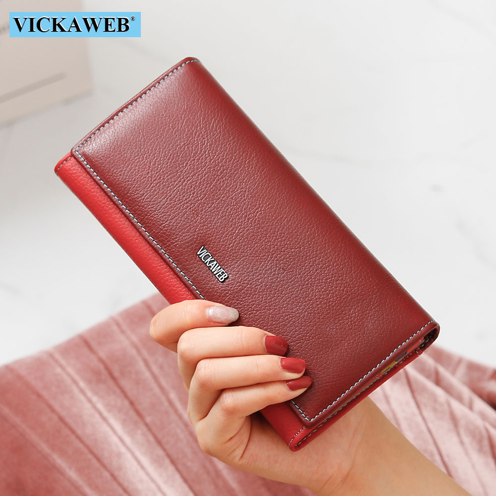 VICKAWEB Women Magnetic Purse Ladies Hasp Genuine Leather Long Wallet Female Solid Fashion Womens Purses Woman Zipper Wallets