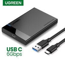 Ugreen-Case HDD, adaptador de disco rígido SATA 2.5 para USB 3.0, gaveta para disco SSD tipo C 3.1, estojo para HD externo