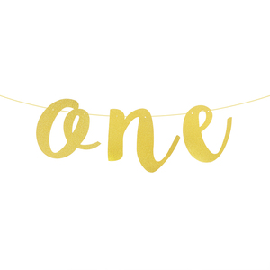 Image 2 - Glitter One Banner Letter Garland Baby 1 Birthday Chair Garland Flag Gold One Bunting Banner for First Birthday 1st Birthday