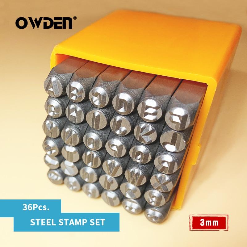 Owden 36 pçs conjunto de carimbo de metal aço número e letra perfurador ferramentas 3mm ferramenta de carimbo de jóias carta de aço perfurador conjunto