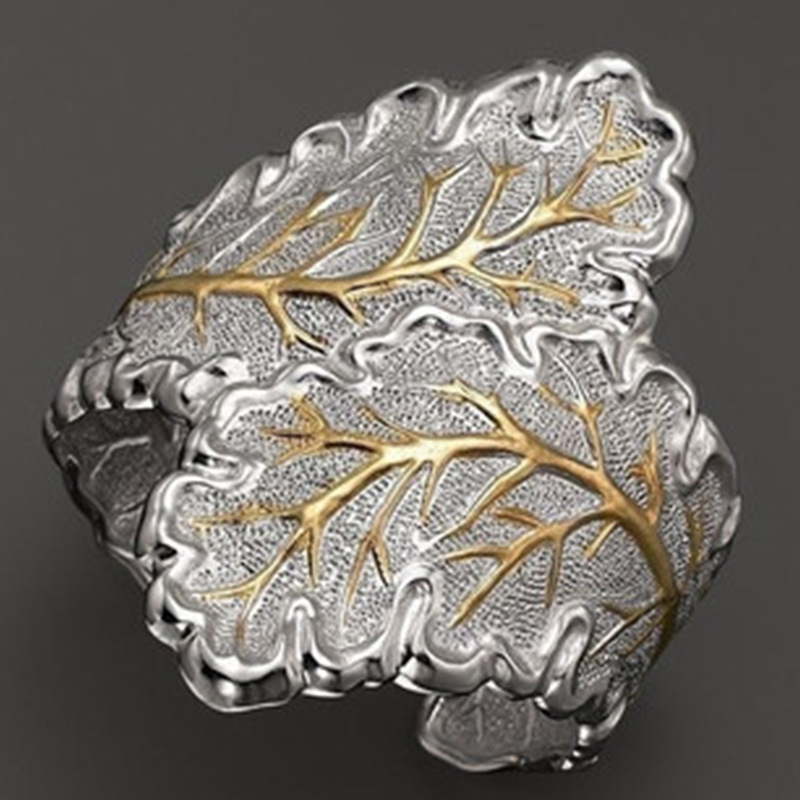 Golden Silver Leaf Cross Wave Ring Cubic Ring For Female Fashion Popular Wedding Rings For Women Party Wedding Rings Bijoux