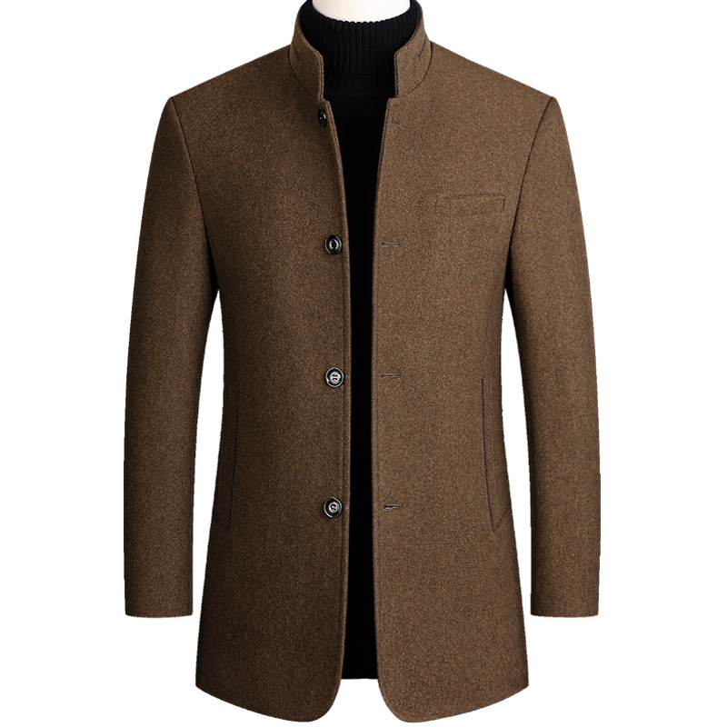 Autumn Winter Mens Woolen Coat Cotton Thick Wool Coat Large Size Casual Long Blend Coat Long Sleeve Khaki Overcoat Male Tops 3xl