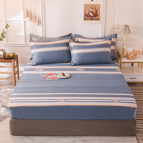 (New On Product) 1pcs 100% Cotton Printing bed mattress set with four corners and elastic band sheets(pillowcases need order) 22