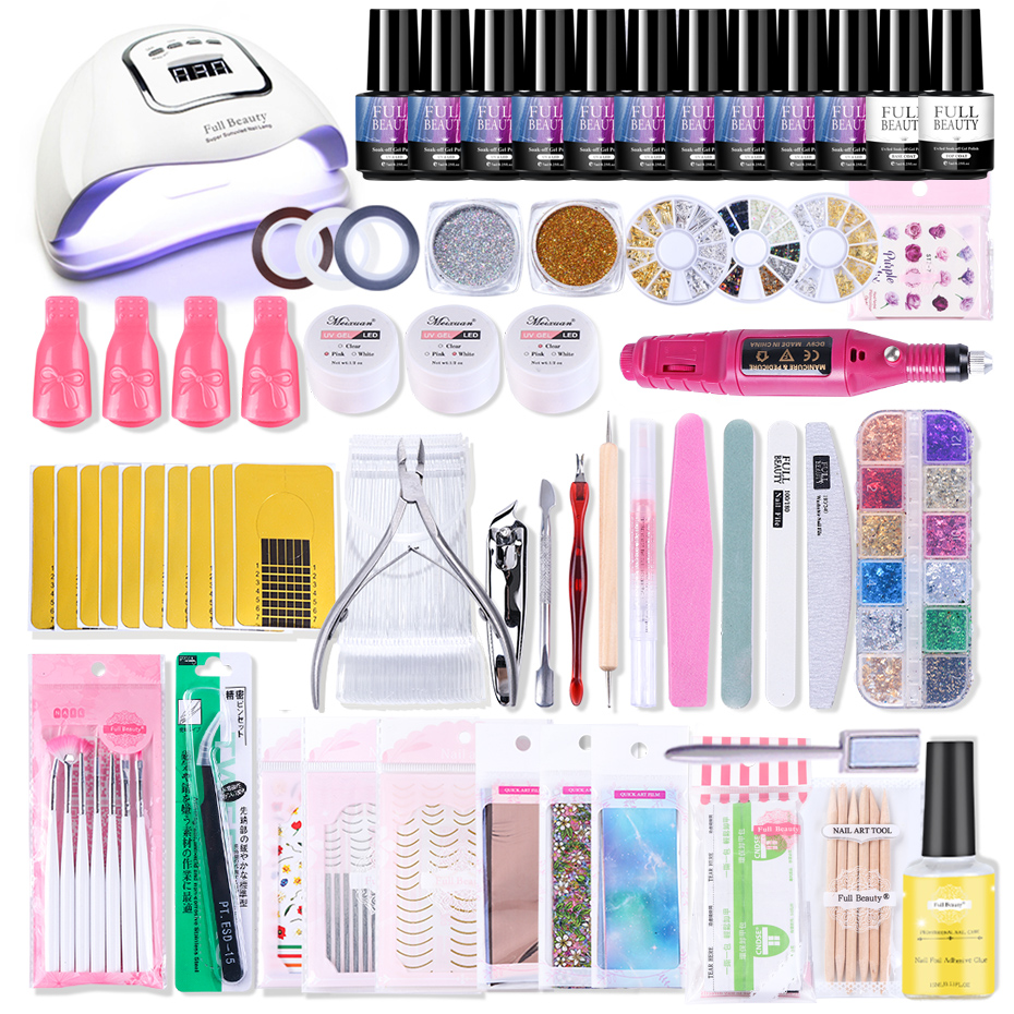 Nail Set Manicure UV Led Lamp Dryer Gel Polish Varnish Starry Sky Foil Sticker Electric Kit Glitter Flake Drill Nail Tool SA1582