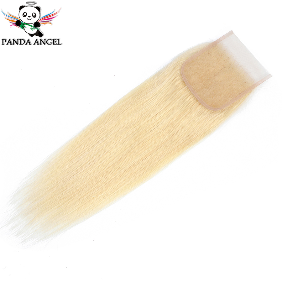 Panda #613 Blonde Brazilian Straight Lace Closure 4*4 with Baby Hair Middle/Free/Three Part Remy Human Hair Closure For Women image
