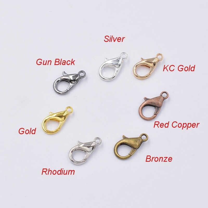 50 sztuk mieszane 7 kolorów 10/12/14/16mm metalowe karabińczyk haki złącza wtykowe na komponenty do wyrobu biżuterii naszyjnik bransoletka DIY
