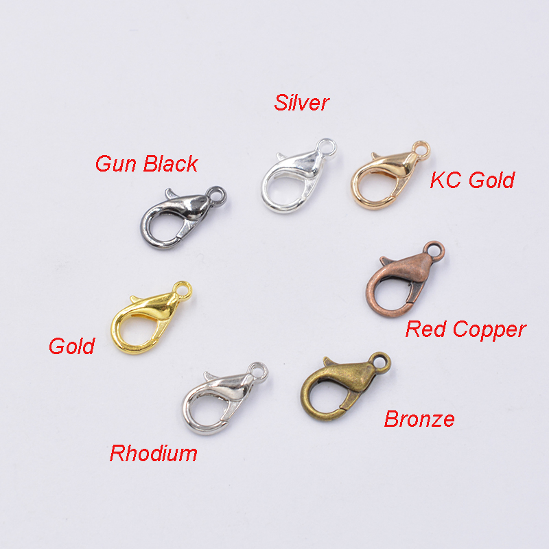 100pcs 9 Colors to Pick 7*12mm Jewelry DIY Findings Alloy Lobster Clasp Hooks