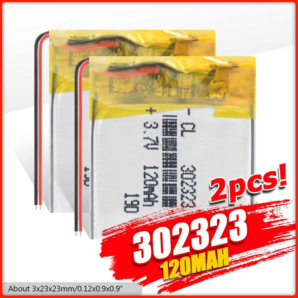 302323 120mah 3.7vリチウムポリマー電池、bluetooth MP3 MP4 スマート時計ワイヤレスカードオーディオレコーダー充電式リチウムイオン電池