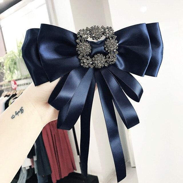 I-remiel coréen rétro soie tissu cravate carré strass noeud broche exagération grand col broches et broches pour costume pour femmes