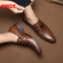 OMDE Men Pointed Toe Leather Loafers British Style Embossed Pattern Slip On Mens Shoes Brand Soft Genuine Dress