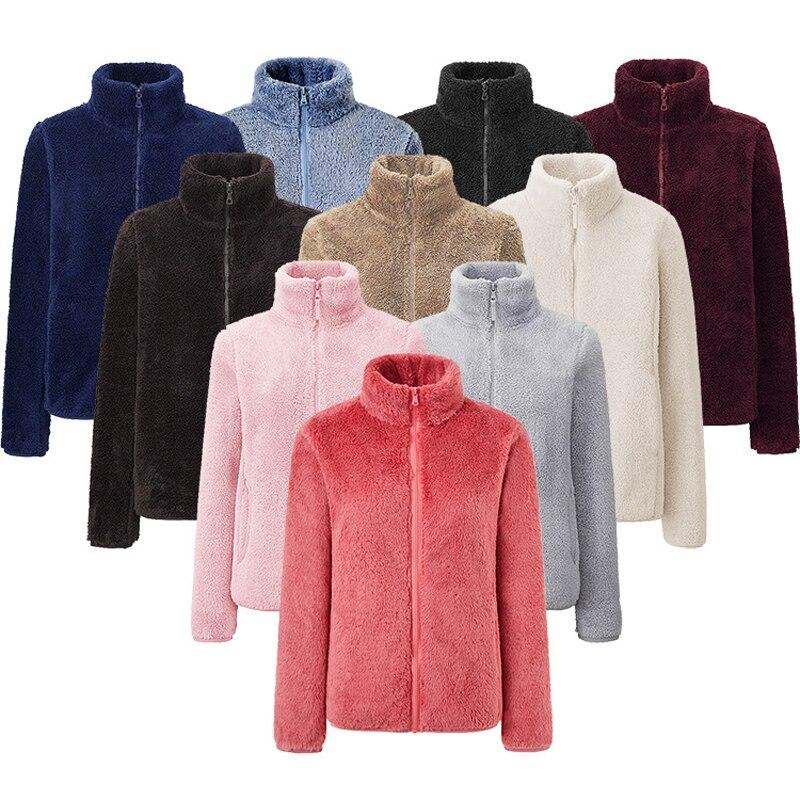 LOVIRS Women's Fleece Double-sided Coats Outdoor Teddy Zipper Solid Coral Fleece Coat Soft Warm Autumn Winter Jackat For Women