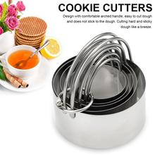 5 Pcs Round Cookies Cutter Set Professional Baking Dough Tool Round Cookies Cutter With Handle Cookies Cutters For Kitchen Tools