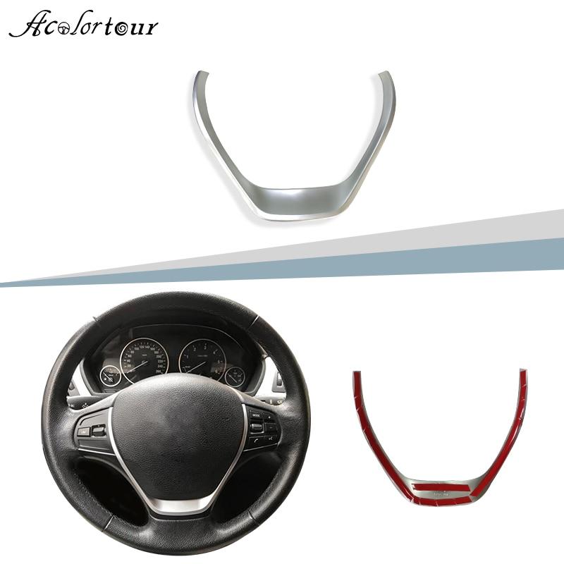 Pegatina para volante cromada ABS, accesorios interiores con insignia media embellecedora para BMW 3 Series F30 F20 F34 3GT 1 serie 320i 32